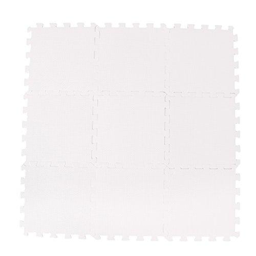 P Prettyia 9x Schaumstoff Puzzle Matte Baby Gym Puzzle Spielmatte Kids Interlocking Soft Boden Fliesen Kinder Zimmer Play Bereich 30 x 30 cm X0. 8 cm - Weiß (Greifende Ineinander Schaum)