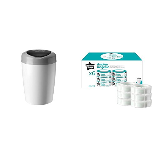 Tommee Tippee Simplee Sangenic Nappy Disposal Container + Tommee Tippee Simplee Refill Cassettes