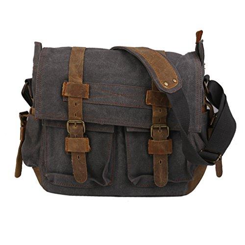 Unisex Scuola Cartella Di Cuoio Tela Spalla Militare Messenger Bag Cachi Grey