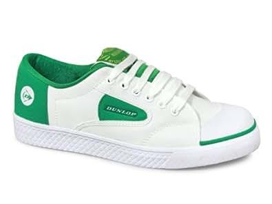 Dunlop GREEN FLASH Unisex Retro Trainers White/Green UK 1 (Junior)