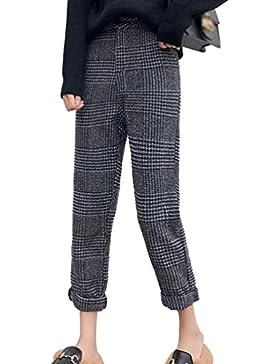 Zhiyuanan Pantalones A Cuadros Para Mujeres Moda Calentar Tweed Pantalon De Pata Ancha Casual Chic Rectos Palazzo...