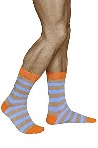 vitsocks Gestreifte Socken für Herren, GEKÄMMTE NATUR BAUMWOLLE, Beige und Hellblau, JOY, 43-46