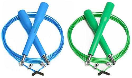 2x Speed-Rope »Rapido« / High-Speed Springseil / 360° Kugelgelenk mit verstellbarem Drahtseil / blaz&grün
