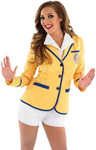 erdbeerloft - Damen Holiday Camp Helfer- Blazer mit aufgesetztem Shirt und Shorts., L, Gelb Weiß