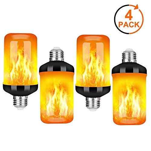 CMXX Flamme Lampe 4 Stück Flackernde Licht Effekt Feuer Glühbirne Wandleuchte Außenleuchte Flackerlicht für Haus Garten Bar Party Hochzeit Restaurant Valentinstag Deko (E27)