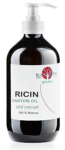biOty Garden Huile de Ricin Première pression à froid Huile à Barbe, Cils, Ongles, Cheveux Huile 100% Pure Visage & Corps (500 ml)