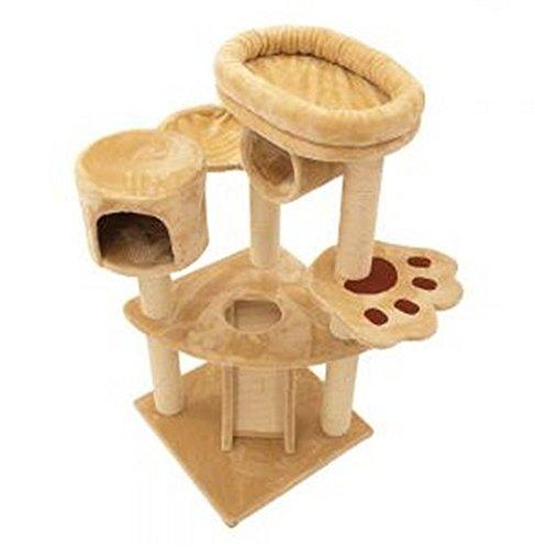 katzeninfo24.de Bears Den 5-stöckiger Katzenbaum mit robustem Kratzbaum und gemütlichem Bett für kleine bis mittelgroße Katzen Einfach aufzubauen.