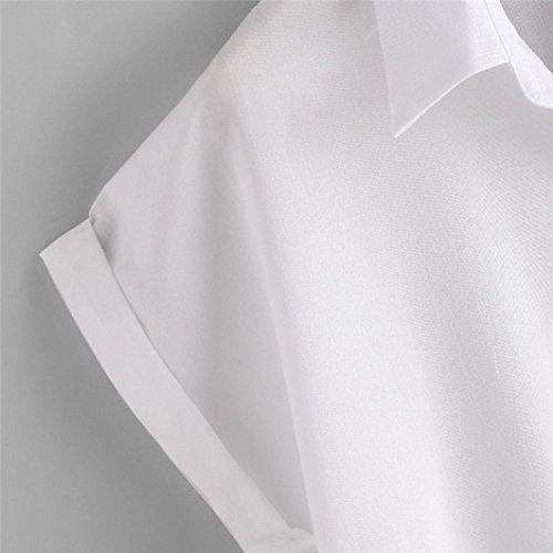 OverDose Damen Blusen Rose Blume Blusen Kurzarm Shirt Frauen Shirt T-Shirts Tops Bluse Weiß