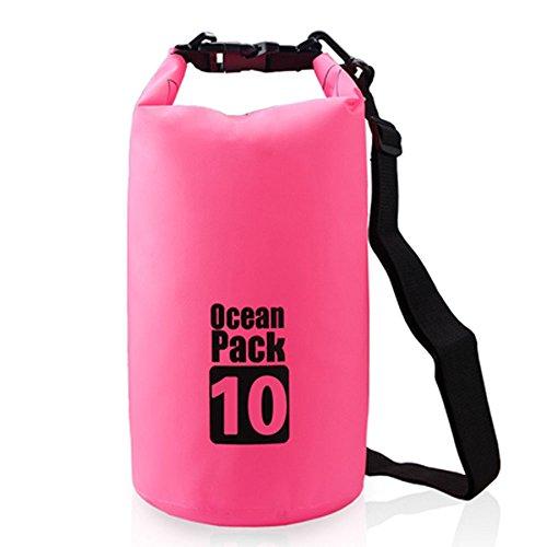 Efanr 10L sacchetto impermeabile esterno PVC galleggiante botti Bucket bag escursionismo campeggio viaggio sacco sacchetto sigillato impermeabile Storage Bag, Rose Red