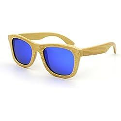 SUKUTU bambú ligero de madera entera marco gafas de sol polarizadas lentes hombre mujer gafas de sol flotante Wayfarer estilo gafas (azul)