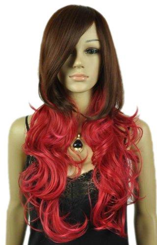 QIYUN.Z Haarteile Damen Perücken Frauen Langen Braunen Lockigen Roten Wellenkostümfestvolles Haar Anime Cosplay Kostüm (Lockigen Roten Haaren Kostüme)