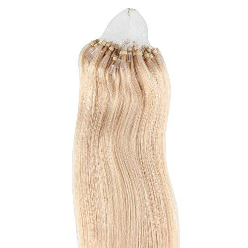 Beauty7 100 Extension de Cheveux Naturel 46CM EASY LOOP Anneaux Pose a Froid Couleur #16 Blond Foncé Poids 50g