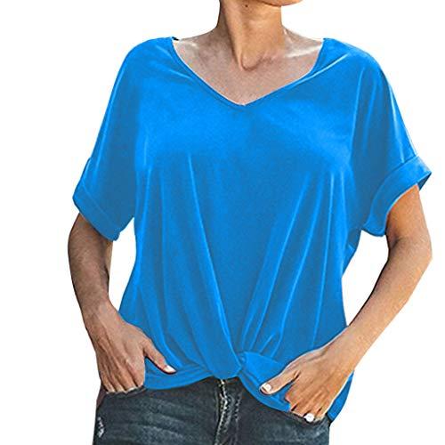 Allegorly Damen Basic T-Shirt Einfarbig Kurzarm V-Ausschnitt Oberteile Lässige Tunika Tops Vintage Loses Geknotetes Shirt Frauen Casual Chic Hemden Elegant Große Größen Sommer -