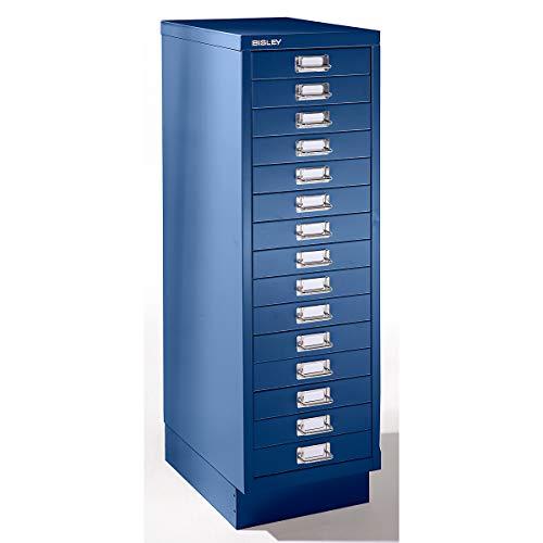 Bisley Schubladenschrank mit 15 Schubladen- Schubladencontainer im DinA4 Format- HxBxT 940x279x380 mm- ausziehbarer Büroschrank in kobaltblau