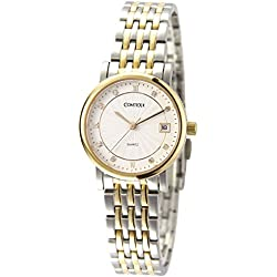 Comtex Luxury Women's Quartz Watches Gold Case with Two Tone Stainless Steel Ladies Watches