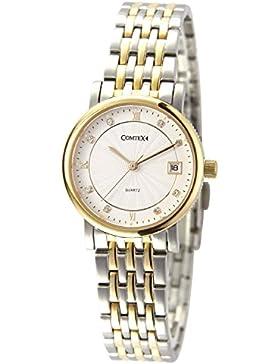 Comtex Damen Quarz Armbanduhr mit Gold und Silberfarben Edelstahl-Armband Kalender Wasserdicht