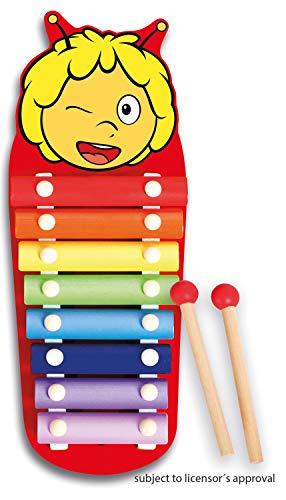 Lena 52951 Bine Xylofon Biene Maja, Holzxylofon mit 8 Metall Klangplättchen und 2 Schlägel aus Holz, Schlaginstrument für Kinder ab 24m+, Kinderinstrument in Bienchen Maya Form, bunt