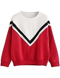 Sudadera Mujer, ❤️Xinan Camiseta de manga larga con apliques bordados para mujer Sudaderas con capucha Blusa rosa Jersey Blusa de patchwork casual para mujer