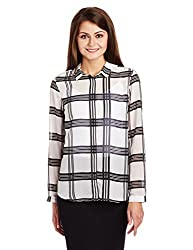 Allen Solly Womens Button Down Shirt (AWTS316C00343_White with Black_M)