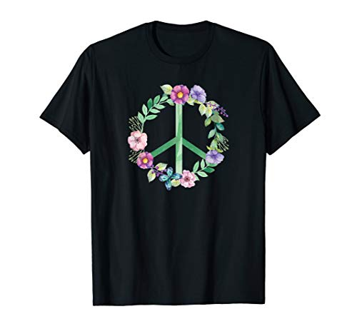 Peace Zeichen Hippie Kostüm T-Shirt 60er 70er Jahre (Peace Zeichen Hippie Kostüm)