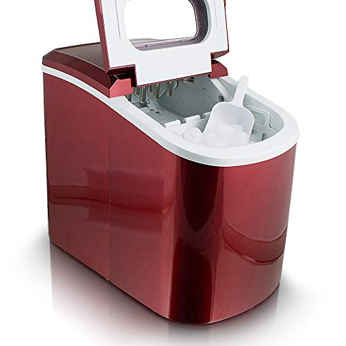 Eiswürfelmaschine, Eiswürfelbereiter, Icemaker in ROT