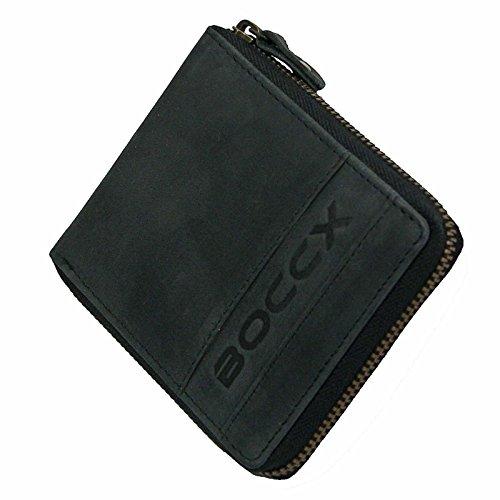 BOCCX Leder Herrenbörse mit Reißverschluss RFID-Schutz Geldbörse Vintage Geldbeutel Portemonnaie Reißverschlussbörse 40021z Schwarz GoBago -