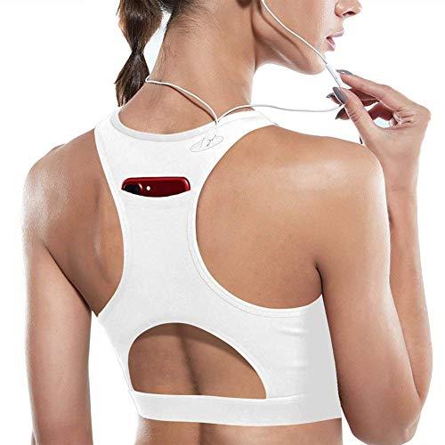 DMYG Sport BH Yoga BH Fitness BH High Impact Back Pocket Sports Bra Racerback Activewear Bras Mit Padded Für Running BH Für Damen Weiße XL - Mesh-spandex-sport-bh