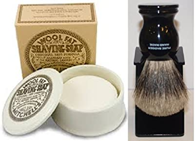 Mitchell's Wool Fat Shaving Soap and Ceramic Bowl (120g) And Black 100% Pure Badger Shaving Brush by Mitchell's