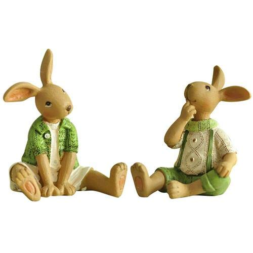 Price comparison product image 2PCS Green Bunny Resin Rabbit Easter Combination Rabbit Ornaments Decoration For Home Office Ornament For Easter