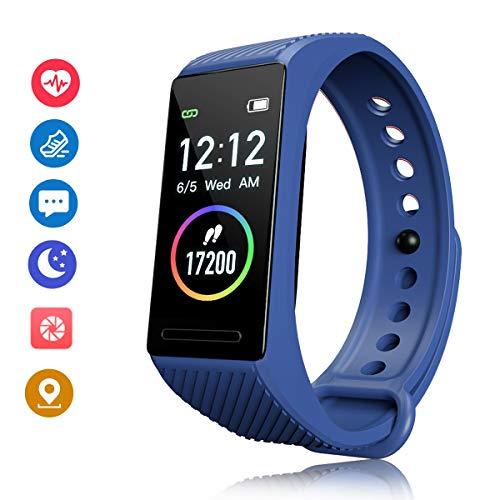 F-FISH Activity Tracker HR Orologio Fitness Tracker Pressione Sanguigna Cardiofrequenzimetro da Polso Uomo Donna Impermeabile Smartwatch Sonno Braccialetto (Blu)