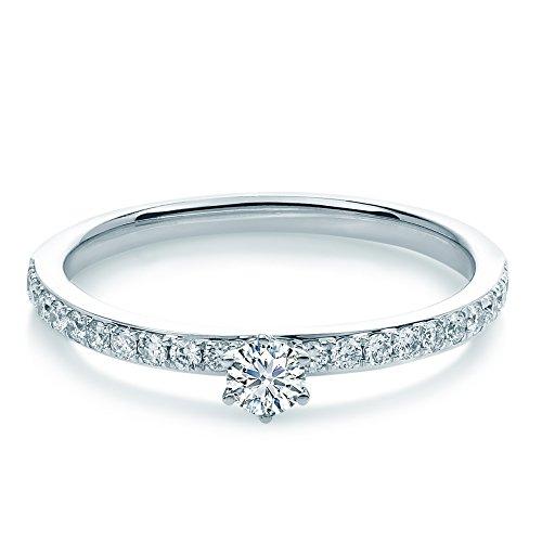 Tiffany Style Pave Anello Bianco & # x178; Gold 0,35CT con 21brillanti,...