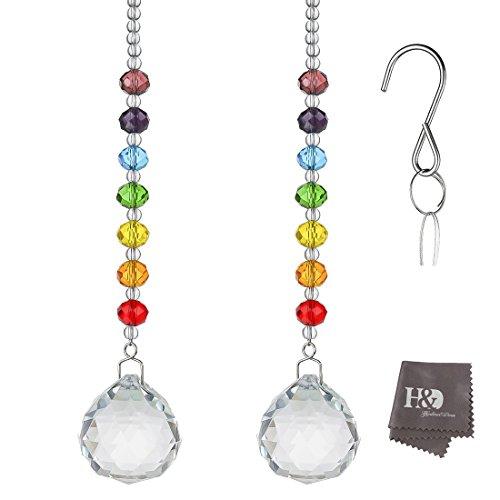 H&D Kristall Prism Regenbogen Macher Sonnenfänger Ball Ketten Chakra Farben Rondelle Perlen Strand Design 2 Stück 30mm