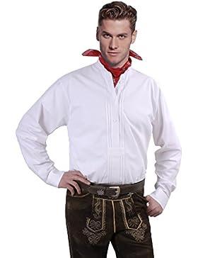 Top-Quality - Trachtenhemd Herren Langarm/Kurzarm - mit Stehkragen - Komfort Reine Baumwolle - Stehkragenhemd...