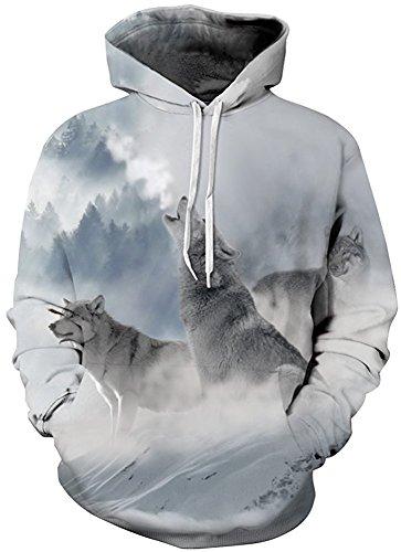 AureQet Herren 3D Druck Kapuzenpullover Cartoon Sweatshirt Weihnachten Langarm Top Slim Fit Hoodie Schnee Wölfe