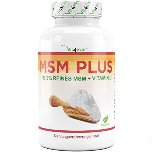 Vit4ever® MSM - 400 vegane Tabletten (6,6 Monate Vorrat) - 2000 mg pro Tagesdosis (Extra Hochdosiert) - Mit natürlichem Vitamin C (Acerola) - Gelenke & Haut - Laborgeprüft