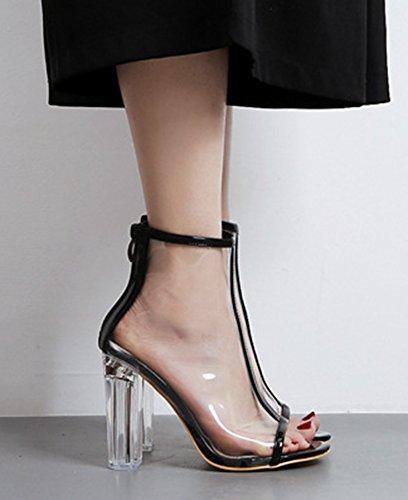 Aisun Femme Mode Peep Toe Transparent Cristal Chunky Sandales Noir