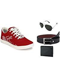 Lavista Men's Red Sneaker Casual Shoe Combo