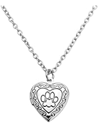 Jovivi Women Vintage Heart Engraved Paw Design Photo Picture Memory Locket Pendant Necklace,Silver/Gold/Rose Gold