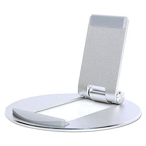 MOSISO Ständer Tablet Halter Kompatibel iPad/Nintendo Schalter/iPhone/Kindle, Multi Winkel runder Aluminiumlegierungs Schreibtisch Halter Faltbarer Kühldock mit justierbarer Klammer, Silber -