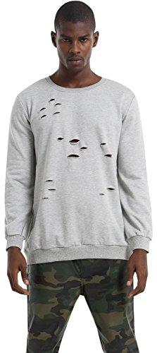 Pizoff Unisex Hip Hop Basic Langärmliges Langes Jersey Sweat T-Shirt Rund Saum P3265-grey