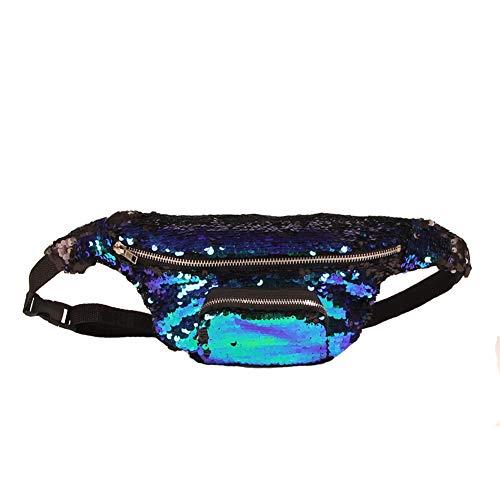 Ouken Riñonera brillo lentejuelas cintura cinturón