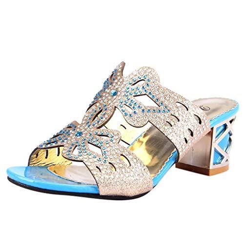 Pingtr - Damen Strandschuhe Hausschuhe,Frauen große Größe Kristall aushöhlen Slotted Chunky Heels Slipper Sandalen Schuhe T-strap Womens Chunky Heels