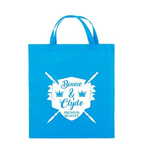 Commedie - Bonnie & Clyde Knight - Motivo - Borsa Di Juta - Manico Corto - 38x42cm - Colore: Nero / Rosa Azzurro / Bianco