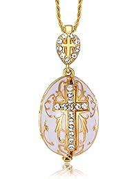 TF Charms Halskette mit Kettenanhänger Jungfrau Maria, Jesus Christus Ei mit Kreuz, aufklappbar mit Erzengel Gabriel innen, 55,9cm