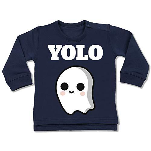 Shirtracer Anlässe Baby - Geist YOLO Motiv - 6-12 Monate - Navy Blau - BZ31 - Baby Pullover