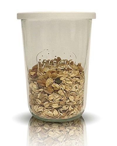 Weck Sturzgläser Set | 8 teilig | Füllmenge 850 ml 3/4 liter | 4 Sturzgläser & 4 Frischhaltedeckel 100 mm | Einmachgläser Einkochgläser | Ideal für Salz Pfeffer Sonnenblumenkerne (Joghurt Sonnenblumenkerne)