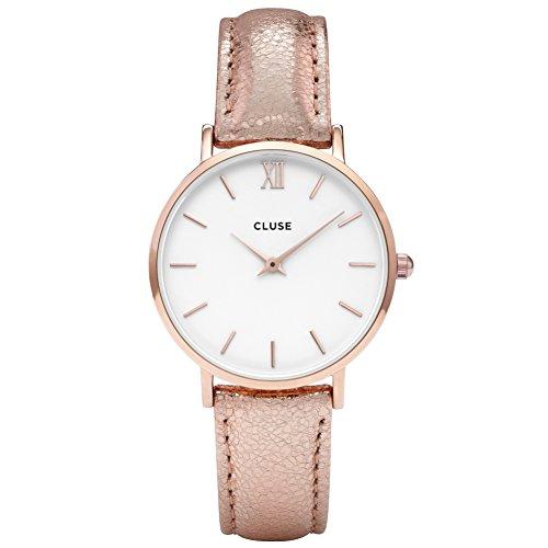 CLUSE CL30038 Minuit Rose Gold White/Rose Gold Metallic Uhr Damenuhr Lederarmband vergoldet...