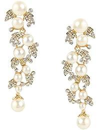 a978fd56bbfd Flyonce Pendientes Mujer Perlas Hojas Colgantes Aretes Elegante Retro  Fresco para Regalo Novia Boda Fiesta