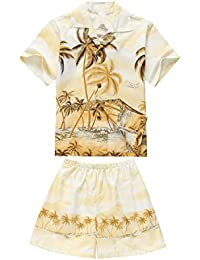 Hecho en Hawaii Luau Aloha Camisa y Pantalones Cortos Chico Juego de Cabana Amarillo del Borde
