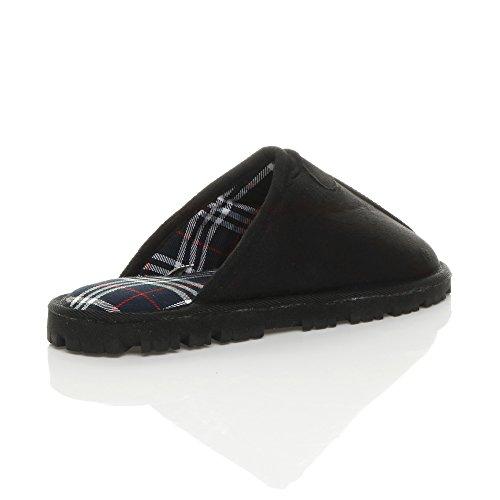 Herren Luxuriös Warm Winter Pelz Gefüttert Gemütlich Geschenk Hausschuhe Pantoffeln Größe Schwarz Schottenstoff